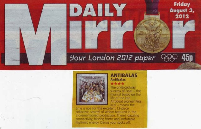 Daily Mirror Review 3 August 2012