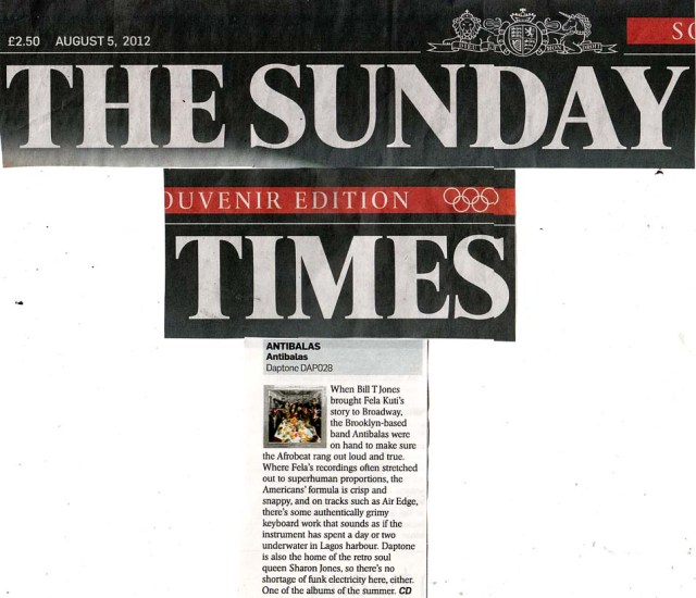 The Sunday Times Album Review Antibalas
